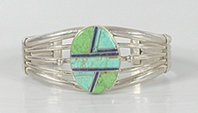 Vintage NOS Sterling Silver Turquoise Gaspeite Lapis Inlay Bracelet 6 1/2 inch by Navajo Michael Tahe