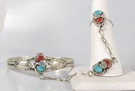 NOS Sterling Silver turquoise and coral snake slave bracelet size 5 7/8 by Zuni artist Effie Calavaza