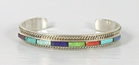 NOS Sterling Silver inlay bracelet size 6 3/8 by Navajo artist Thomas Francisco