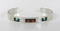 NOS Sterling Silver turquoise and coral Inlay bracelet size 6 3/4 by Zuni artist Leander and Lisa Othole