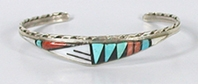 NOS Sterling Silver turquoise and coral Inlay bracelet size 5 7/8