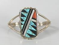 Authentic Native American NOS Sterling Silver turquoise and coral Inlay bracelet size 6 1/8 by Navajo artist Patrick Smith