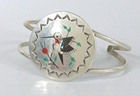 Authentic Native American NOS Sterling Silver inlay hummingbird bracelet size 6 3/4 by Navajo artist Raymond Boyd