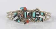 Authentic Native American NOS Sterling Silver inlay Rainbowman bracelet size 6 1/8 by Zuni artist Gillerimo Natachu