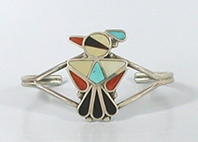 Authentic Native American NOS Sterling Silver inlay Thunderbird bracelet size 5 1/4 by Zuni artist Joanita Tsalate