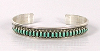 Sterling Silver turquoise needlepoint Inlay bracelet size 6 1/4