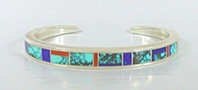 Sterling Silver Turquoise, Lapis, Coral Inlay bracelet size 6 1/8
