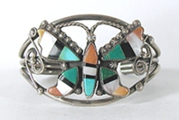 Vintage Sterling Silver inlay butterfly bracelet 6 inch