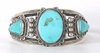 Vintage Sterling Silver and Turquoise Bracelet 6 3/4 inch