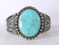 Sterling Silver Blue Gem Turquoise Inlay Bracelet size 6