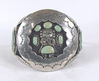vintage sterling silver and turquoise shadowbox kachina  bracelet 6 1/8 inch
