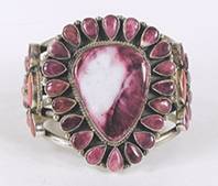 sterling silver and purple spiny oyster cluster bracelet 6 3/8 inch