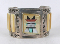 Zuni sterling silver and Vintage MOP Kachina Inlay bracelet 6 5/8 inch