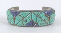 vintage sterling silver turquoise and lapis cobblestone inlay bracelet 6 7/8 inch