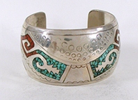 vintage sterling silver turquoise and coral chip inlay bracelet 6 1/2 inch