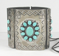 Authentic Native American sterling silver and turquoise ketoh leather cuff bowguard by Navajo artist Joey Allen