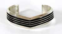 Authentic Native American vintage sterling silver railroad bracelet 6 7/8 inch by Navajo silversmith Tom Hawk