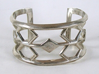 Authentic Native American vintage Sandcast Sterling Silver bracelet 6 7/8 inch by Navajo silversmith Jimmie Yazzie