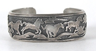 Authentic Native American Sterling Silver Storyteller Horse Bracelet 7 1/4 inch by Navajo silversmith Thomas Singer