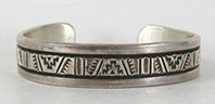 Authentic Native American vintage sterling silver Stamped Bracelet 6 3/4 inch by Navajo silversmith Bruce Morgan