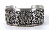 Authentic Native American vintage sterling silver Stamped Bracelet 6 3/4 inch by Navajo silversmith Vincent J. Platero