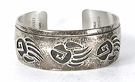 Authentic Native American vintage sterling silver Bear Paw Bracelet 7 inch by Navajo silversmith Roscoe Scott