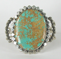 Sterling Silver and Royston Turquoise Bracelet 6 1/4 inch