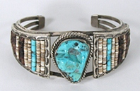 Vintage Sterling Silver Heishi and Turquoise Bracelet 6 3/4 inch