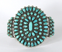 Vintage Sterling Silver Turquoise Petit Point Cluster Bracelet 6 3/4 inch