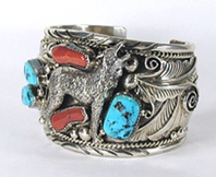 Sterling Silver Turquoise Coral Wolf Bracelet 7 inch