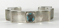 Authentic Native American sterling silver stone inlay Bracelet 6 1/4 inch by Navajo silversmith Carl Quintana