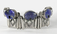 Authentic Native American sterling silver and lapis lazuli bears Bracelet 6 1/2 inch by Navajo silversmith Benjamin James