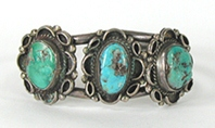 Vintage Sterling Silver and 5-stone Turquoise Bracelet 7 inch