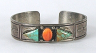 Authentic Native American Sterling Silver and orange spiny oyster Bracelet 6 inch by Navajo artist M. Thompson