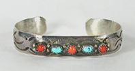 Authentic Native American Sterling Silver and coral Bracelet 5 3/4 inch by Navajo artist Marie Dale