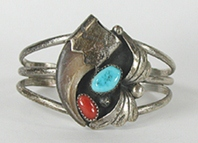 vintage Sterling Silver, turquoise and coral claw Bracelet 6 inch