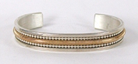 Authentic Native American Sterling Silver Sterling Silver and Gold Bracelet by Navajo Tahe family