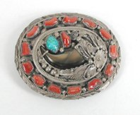 Vintage sterling silver, turquoise and coral Bear Claw Belt buckle