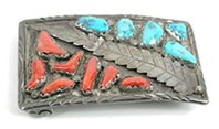 Vintage Authentic Native American sterling silver, coral and truquoise belt buckle by Zuni artist Angelita Cheama