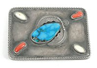 Vintage sterling silver, turquoise, mother of pearl and coral belt buckle