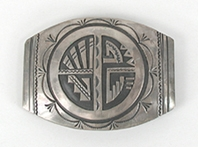 Vintage sterling silver overlay belt buckle