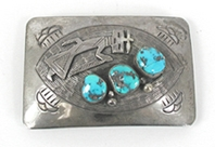 Authentic Vintage Navajo Sterling silver and Turquoise Kachina belt buckle by Roy Vandever