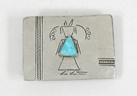 Vintage  stertling silver and turquoise kachina belt buckle