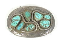 Authentic Vintage Zuni Sterling silver and Turquoise Snake belt buckle by Effie Calavaza