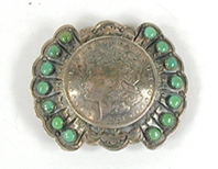 Authentic Vintage turquoise Morgan Silver Dollar buckle by Pueblo artist Lawrence Archuleta