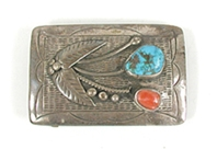Vintage sterling silver Turquoise and Coral belt buckle
