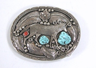 Authentic Vintage turquoise anc coral sterling silver Wolf buckle by Navajo artist Richard Bitsie
