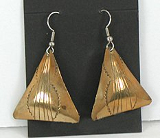 Authentic vintage Native American NOS stamped triangle Navajo earrings
