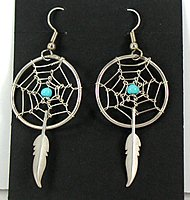 Authentic vintage Native American NOS feather dreamcatcher Navajo earrings