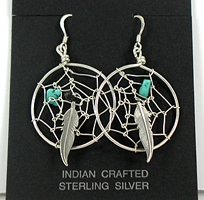 Authentic Vintage Navajo NOS sterling silver and turquoise dreamcatcher Wire Earrings